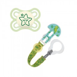 MAM Pacifier Perfect NIGHT 0+ glow-in-the-dark with clip Set