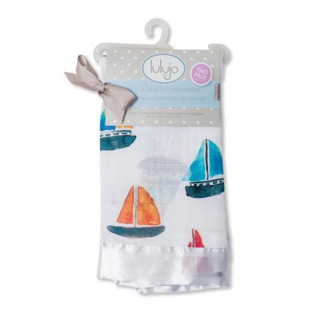 Lulujo 2-Pack Cotton Muslin Security Blankets -  Sailboats