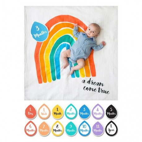 Lulujo Baby's First Year Cotton Muslin Swaddle & 14 Cards Set -  A Dream Come True