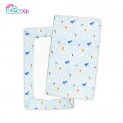 Gracekids Pooh Lets Fly a kite Bed Cover, Size M (blue)