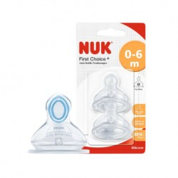 NUK First Choice + Silicone Teat(0-6 months)Size.M (เหมาะสำหรับนมผง)