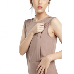 QueenCows ชุดให้นม  : Trixie Neck Dress (Beige)