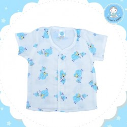 Shawn's Baby Short Sleeve Shirt Sheep Cartoon (Blue)